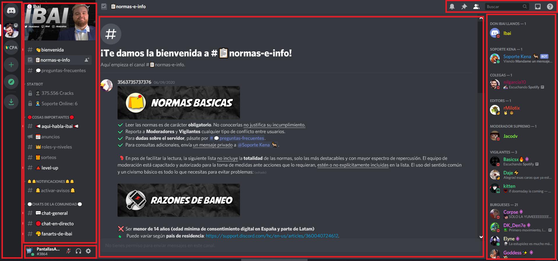 Interfaz de Discord en el navegador web