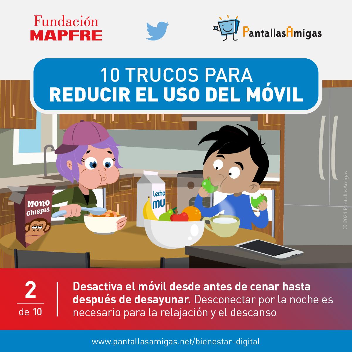 Desactiva el móvil desde antes de cenar hasta después de desayunar
