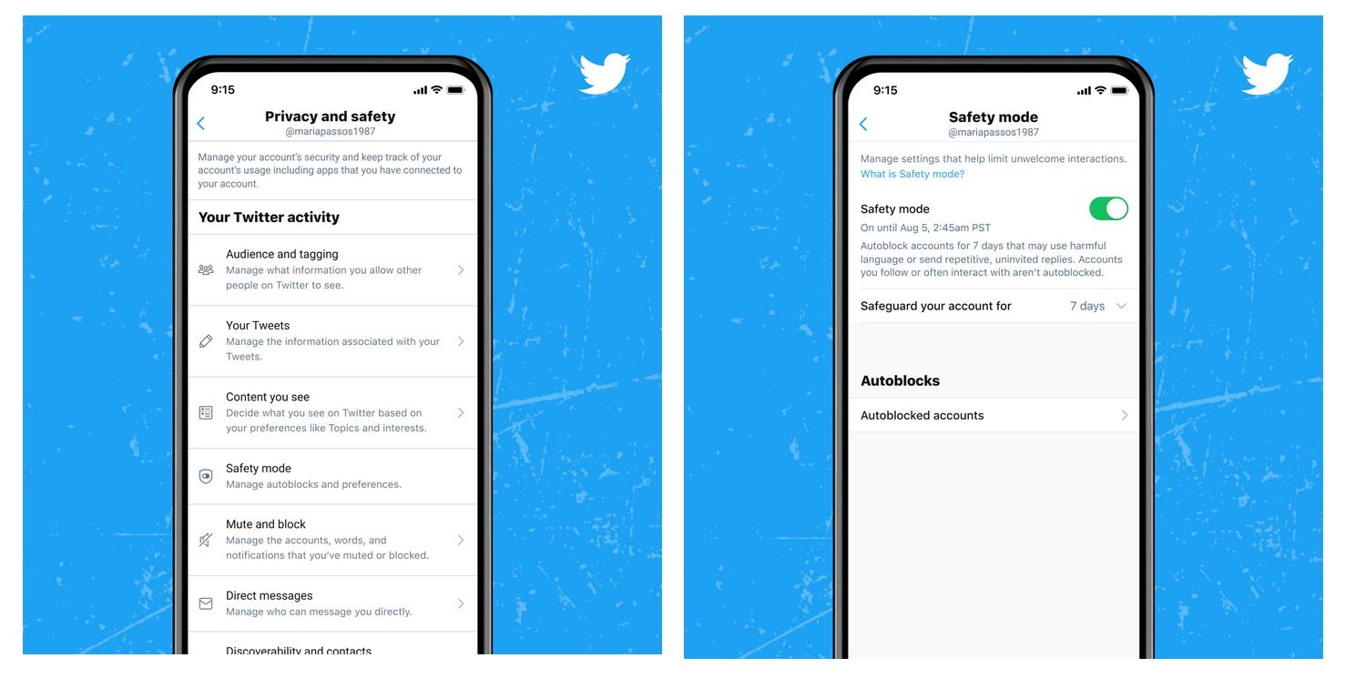 configuración Twitter Modo Seguro